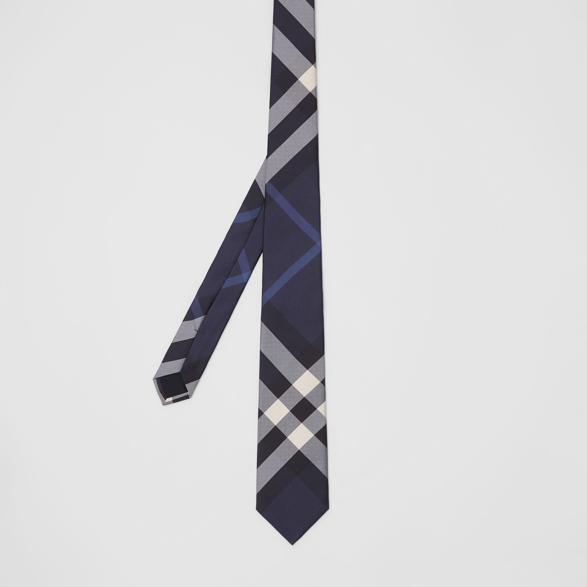 Classic Cut Check Silk Tie in Navy - Men | Burberry United Kingdom - gallery image 4