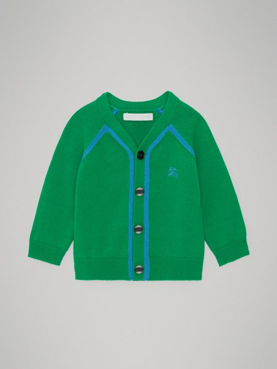 Two-tone Cotton Knit Cardigan in Bright Emerald