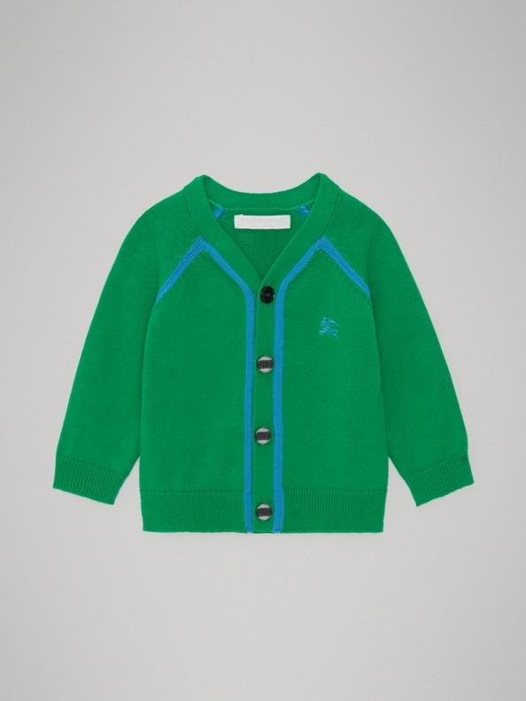 雙色調棉質開襟針織衫 (亮翡翠綠)