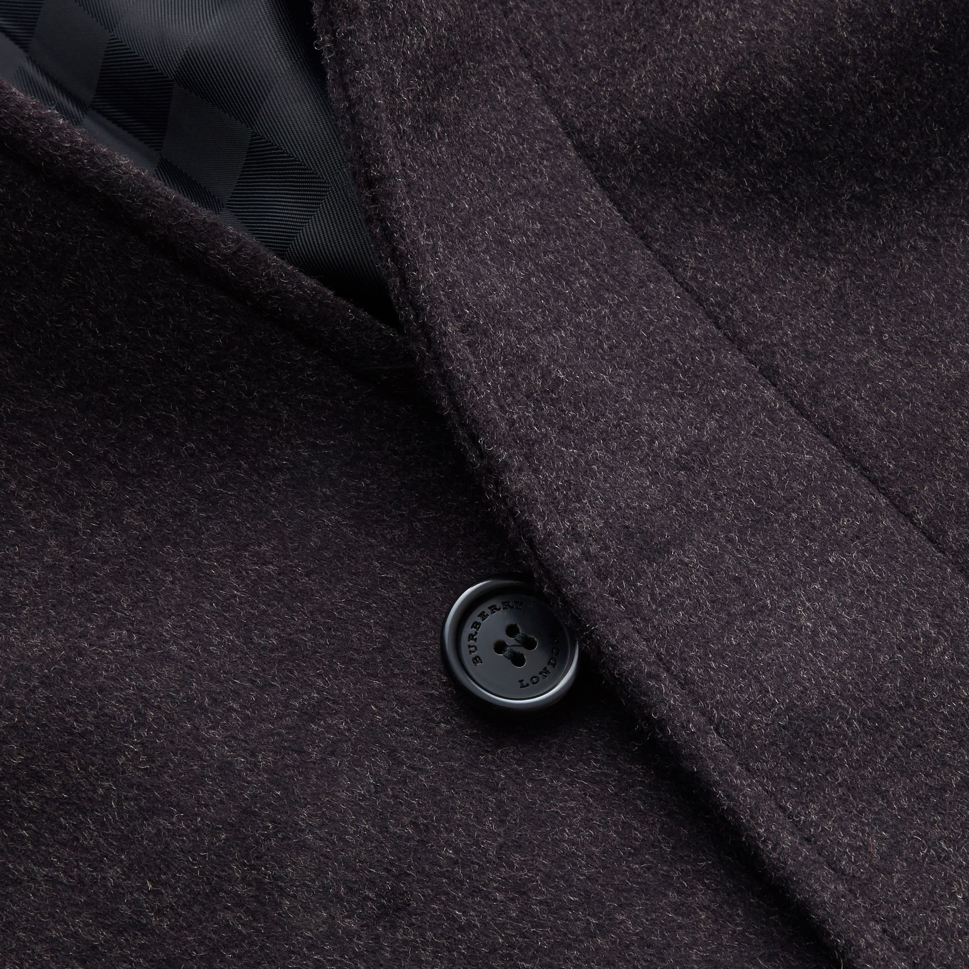 Virgin Wool Cashmere Car Coat Dark Grey Melange - gallery image 2