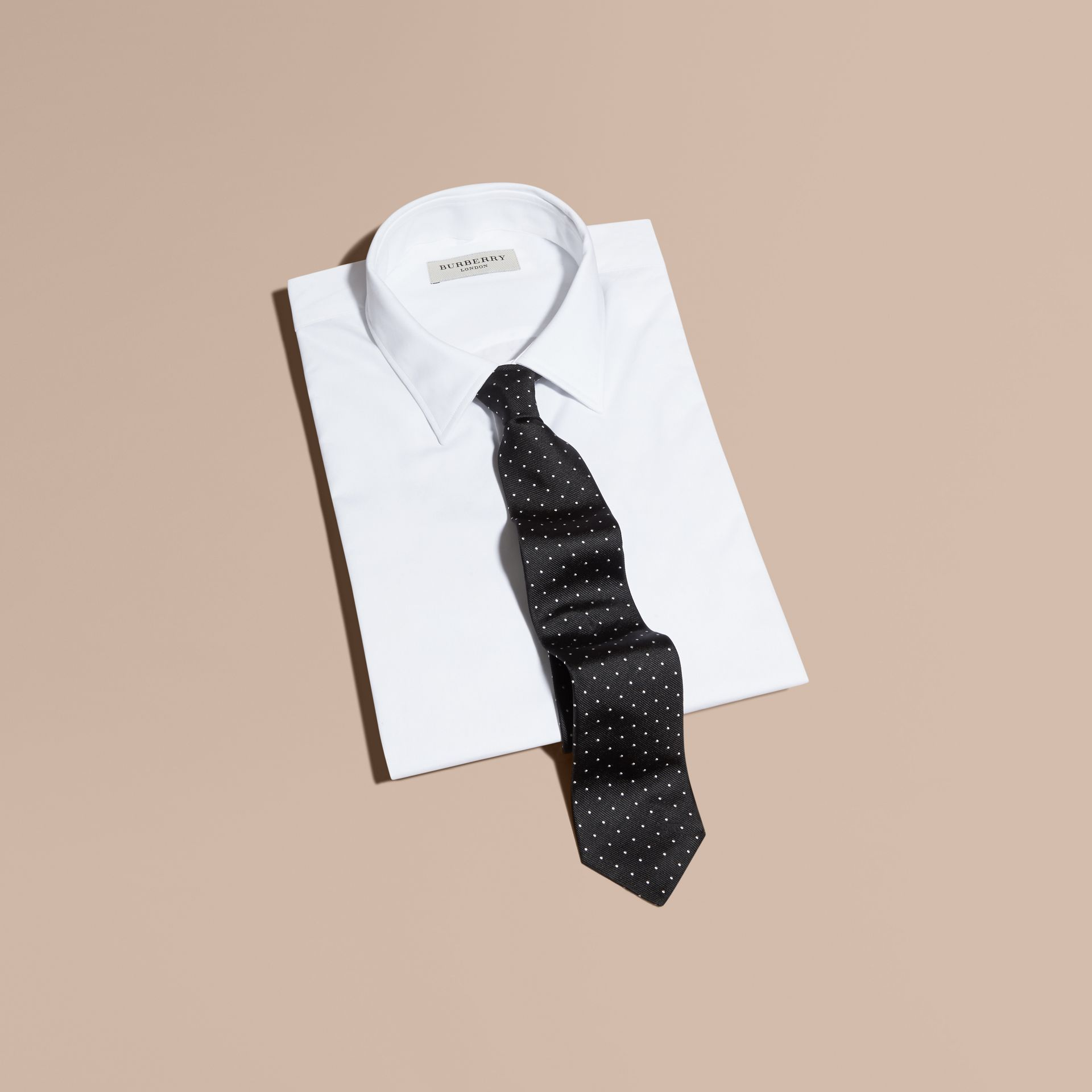 Modern Cut Polka Dot Silk Tie Black - gallery image 4