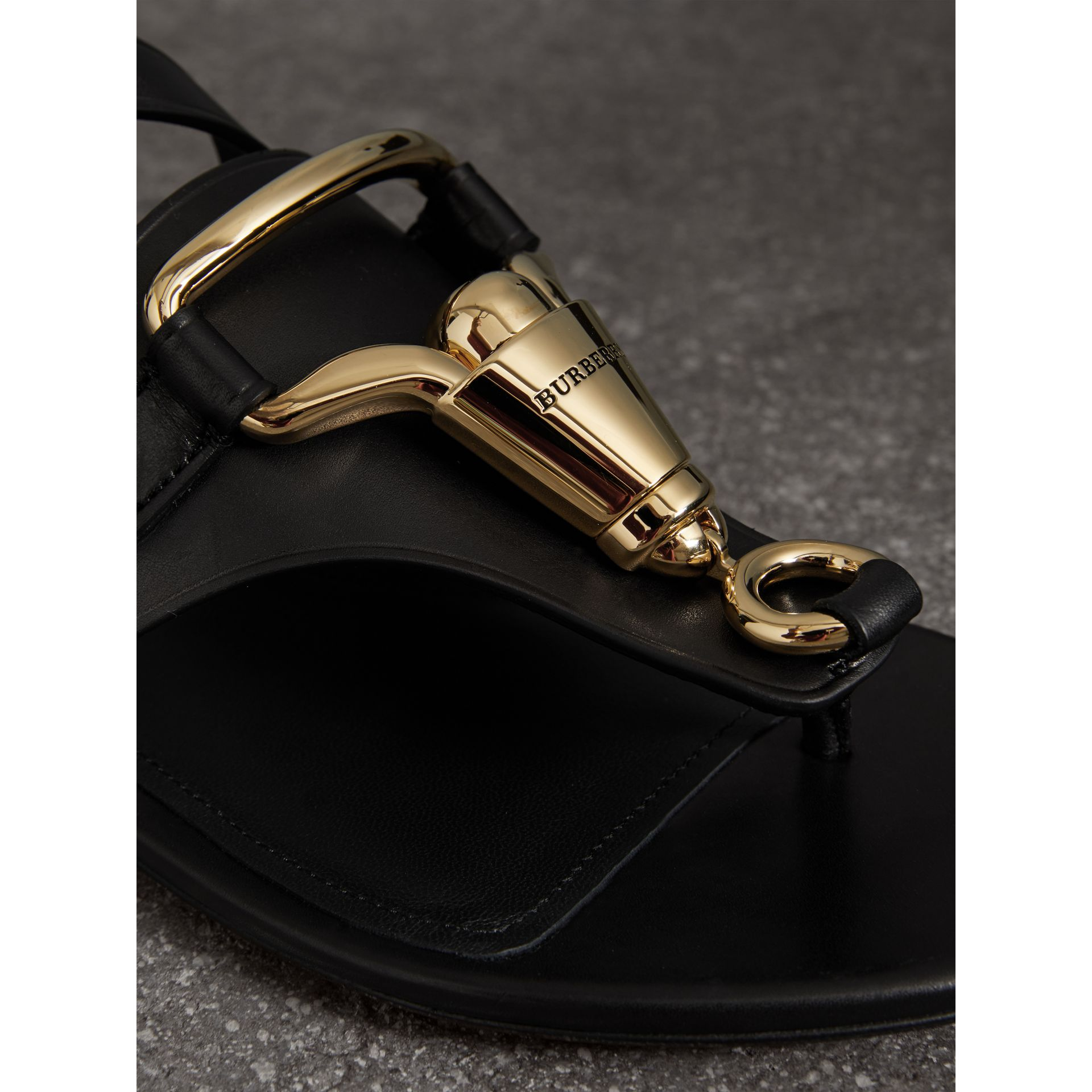 Equestrian Detail Leather Sandals in Black - Women | Burberry - gallery image 1