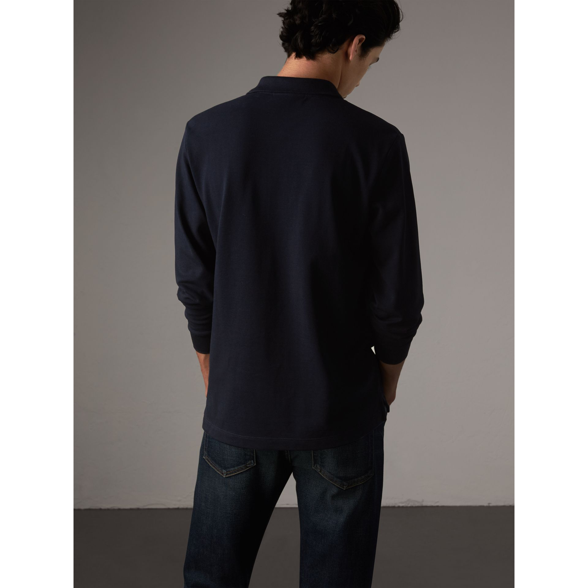Check Placket Long Sleeve Polo Shirt in Dark Navy - Men | Burberry - gallery image 3