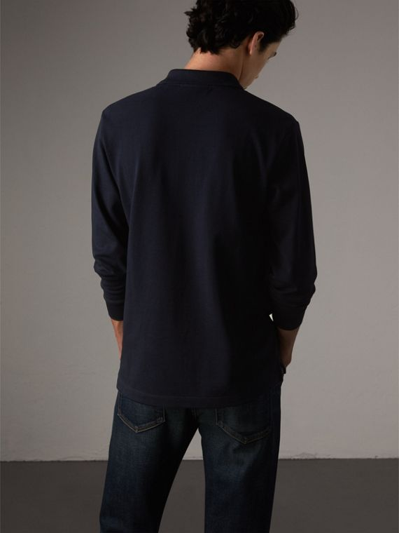 Check Placket Long Sleeve Polo Shirt in Dark Navy - Men | Burberry - cell image 2