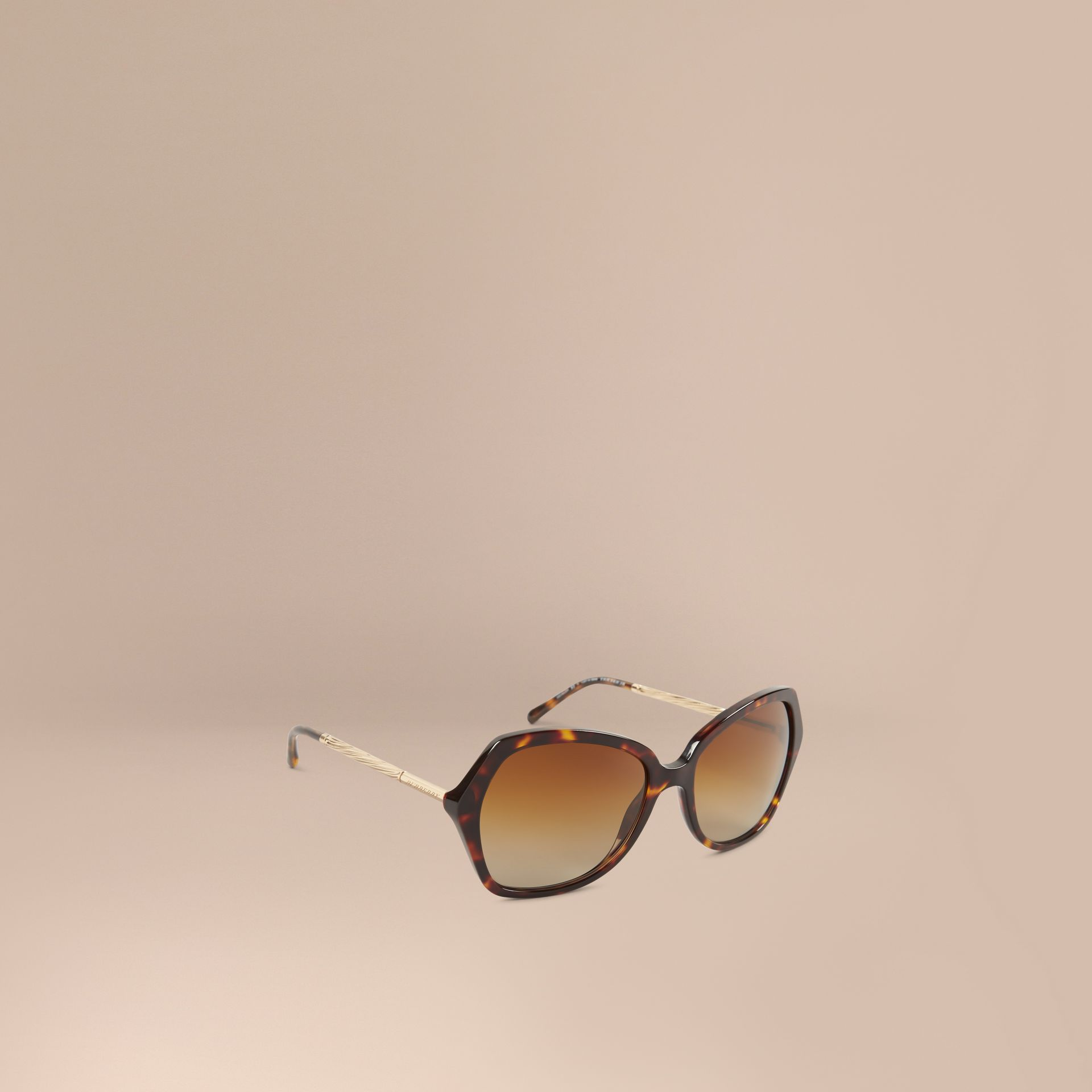 Schildpattfarben Extragroße Sonnenbrille mit eckigem Gestell aus der Gabardine-Kollektion Schildpattfarben - Galerie-Bild 1