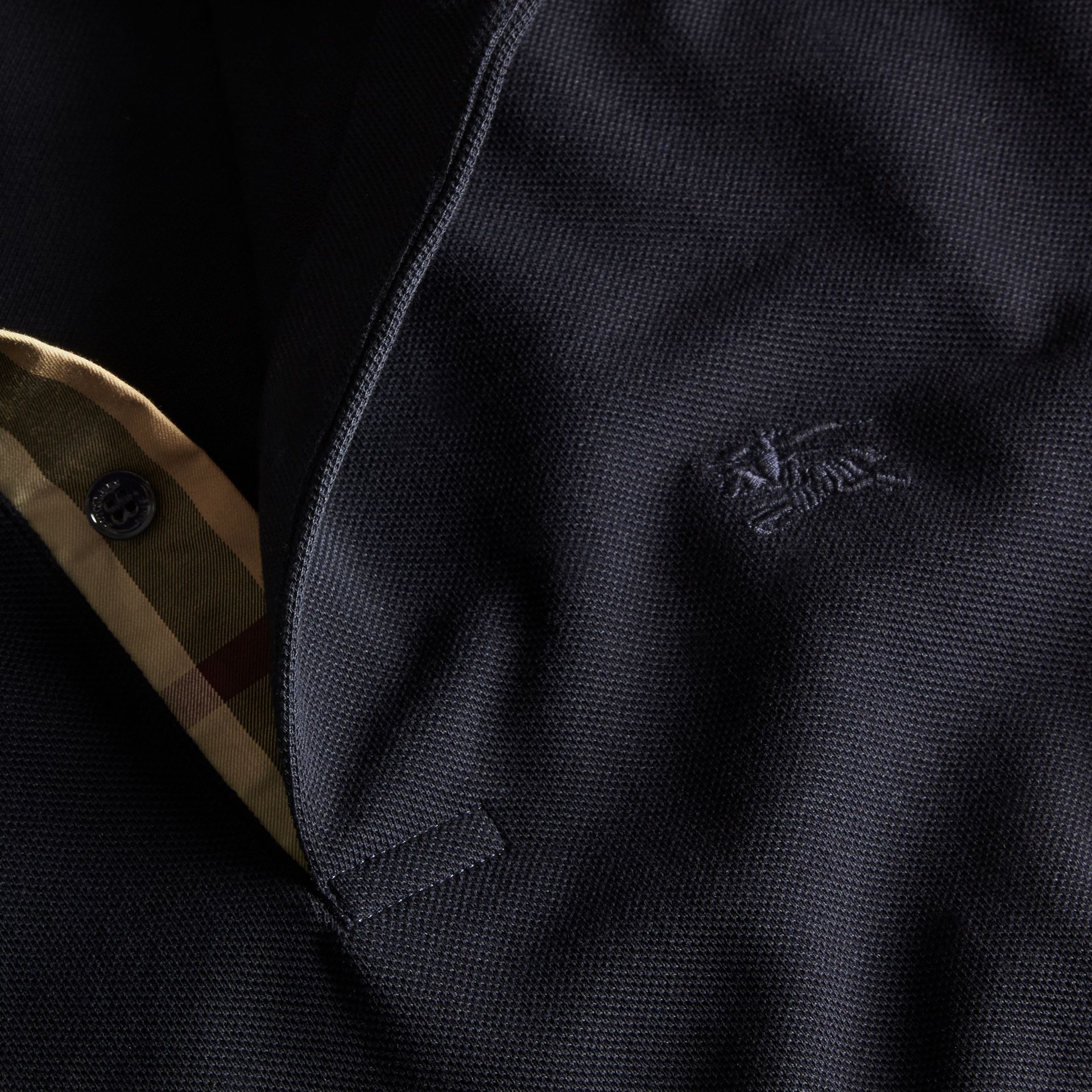 Dark navy Check Placket Cotton Piqué Polo Shirt Dark Navy - gallery image 2