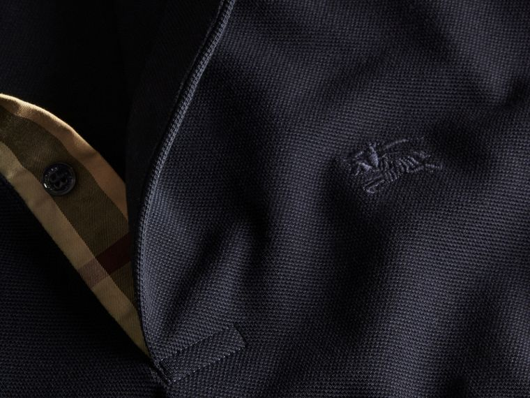 Check Placket Cotton Piqué Polo Shirt in Dark Navy - cell image 1
