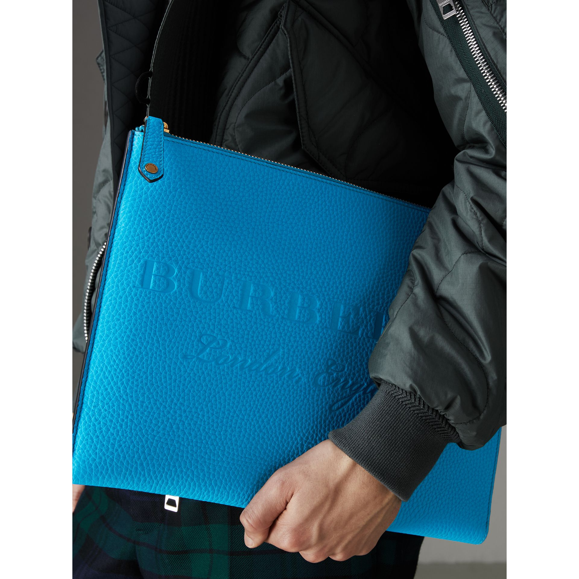 Embossed Leather Document Case in Neon Blue - Men | Burberry - gallery image 3