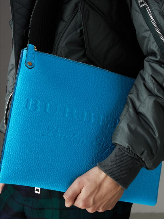 Embossed Leather Document Case in Neon Blue - Men | Burberry - cell image 3