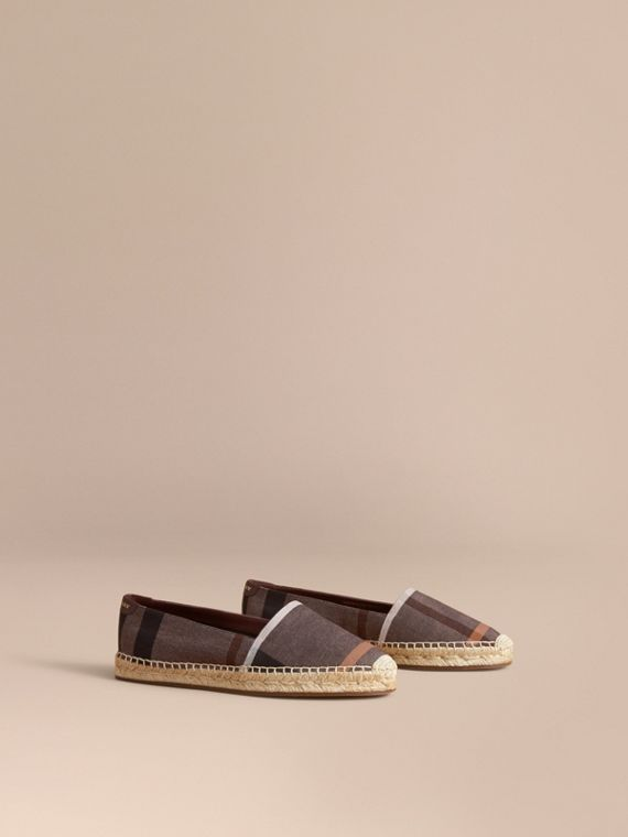 Check Linen Cotton Espadrilles in Cerise Purple - Women | Burberry Australia