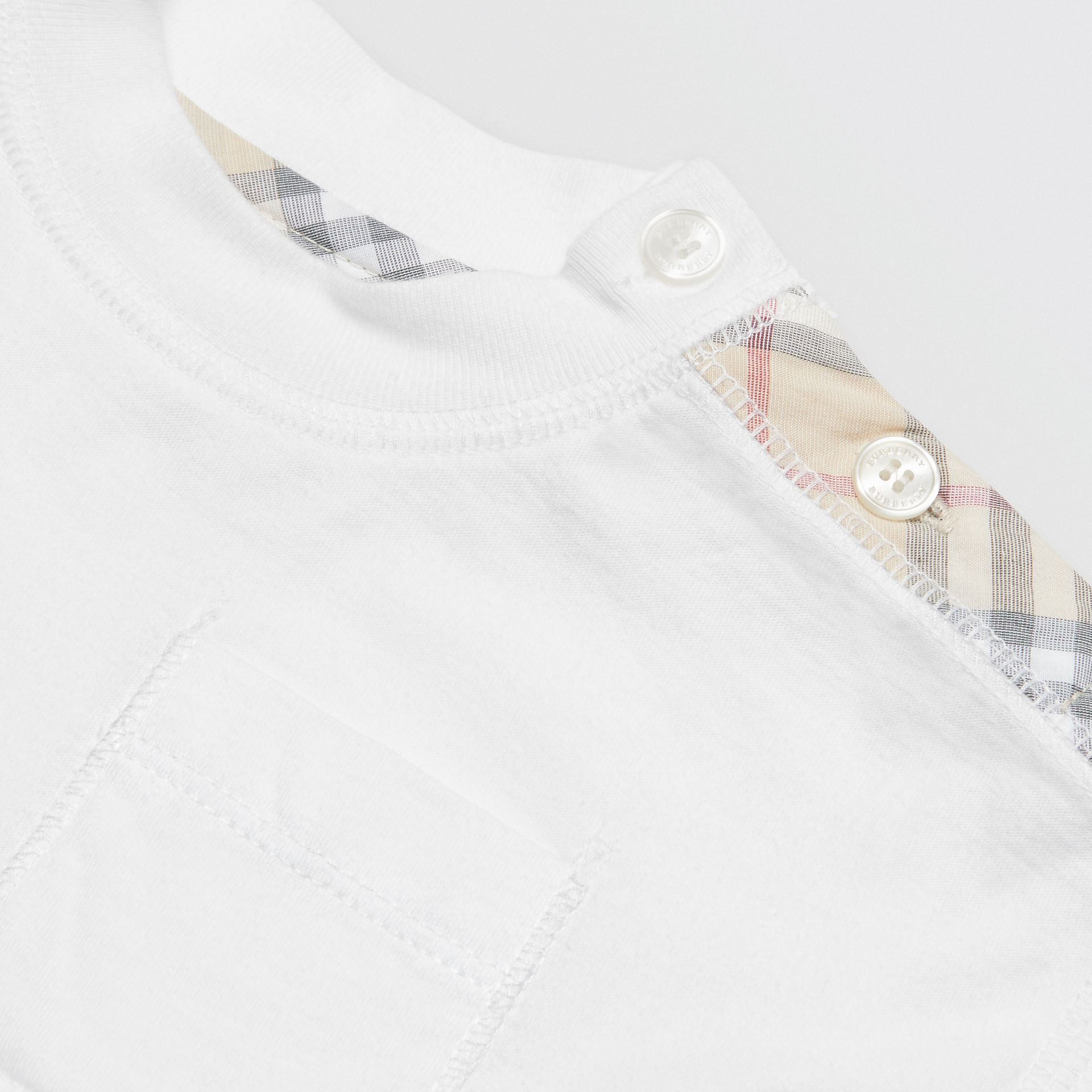 Check Detail Cotton Three-piece Baby Gift Set in White - Children | Burberry Singapore - gallery image 1