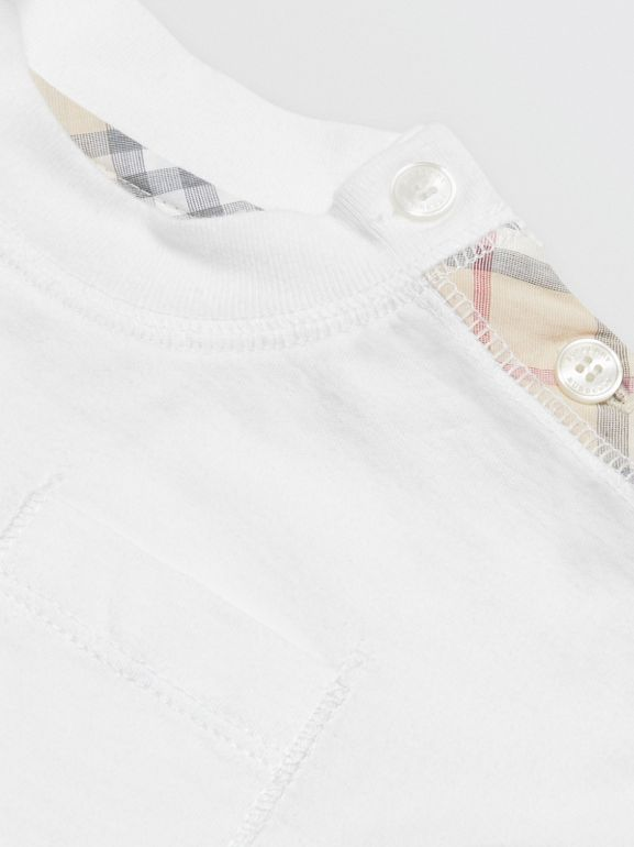 Check Detail Cotton Three-piece Baby Gift Set in White - Children | Burberry - cell image 1