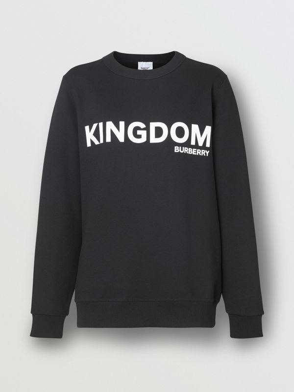 Kingdom Print Cotton Sweatshirt in Black - Women | Burberry Singapore - cell image 3