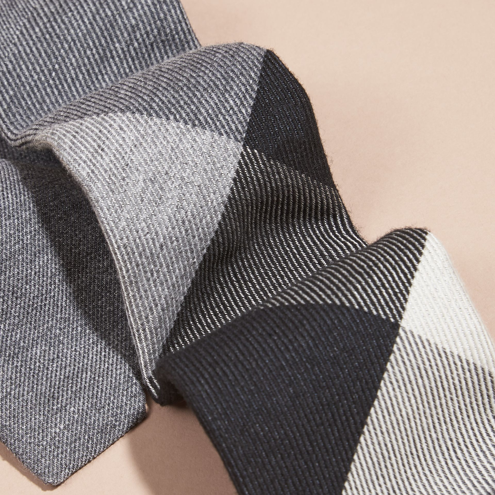 Light grey melange Modern Cut Check Cashmere Silk Tie Light Grey Melange - gallery image 2