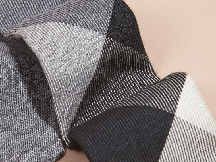 Light grey melange Modern Cut Check Cashmere Silk Tie Light Grey Melange - cell image 1