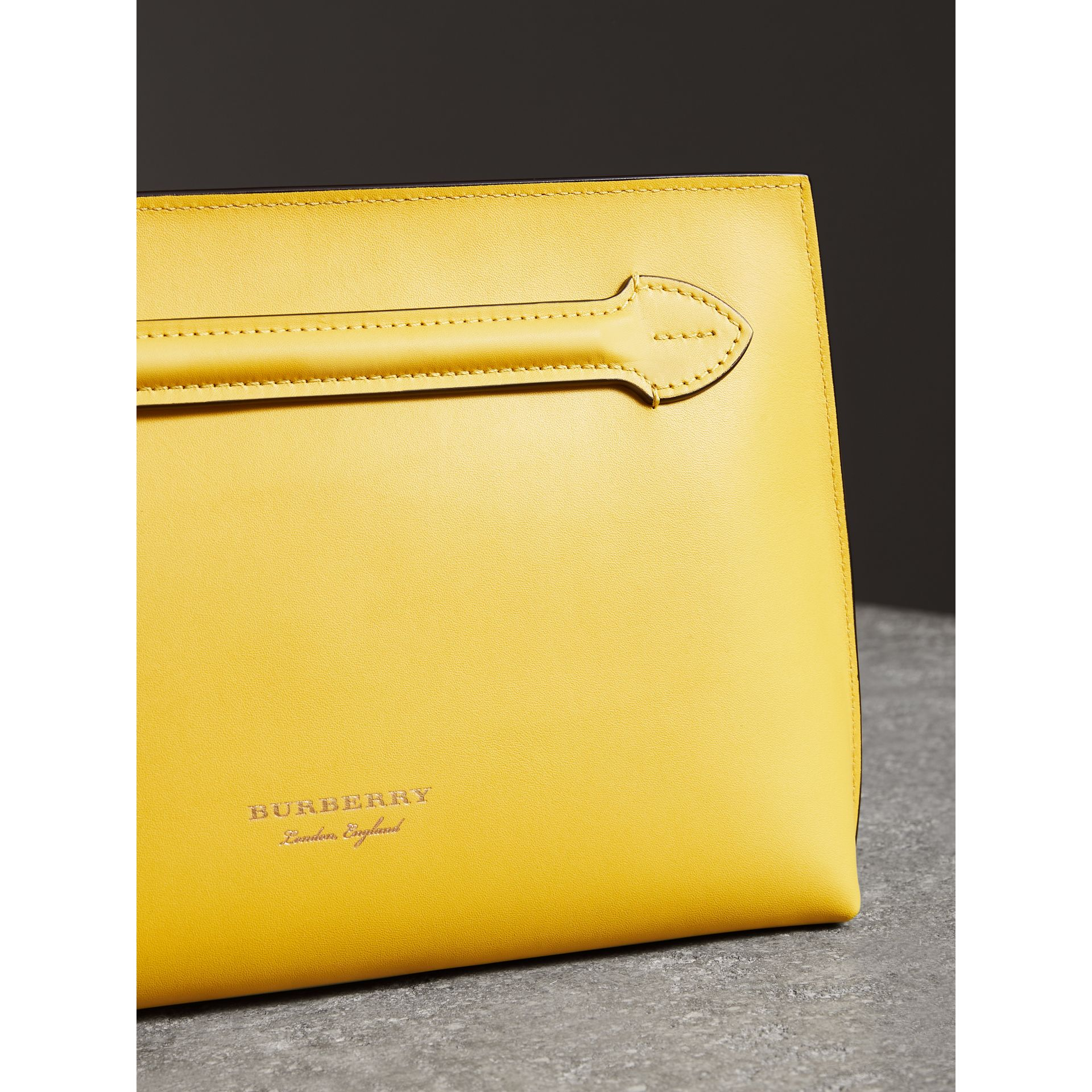 Leather Wristlet Clutch in Bright Larch Yellow - Women | Burberry United Kingdom - gallery image 5