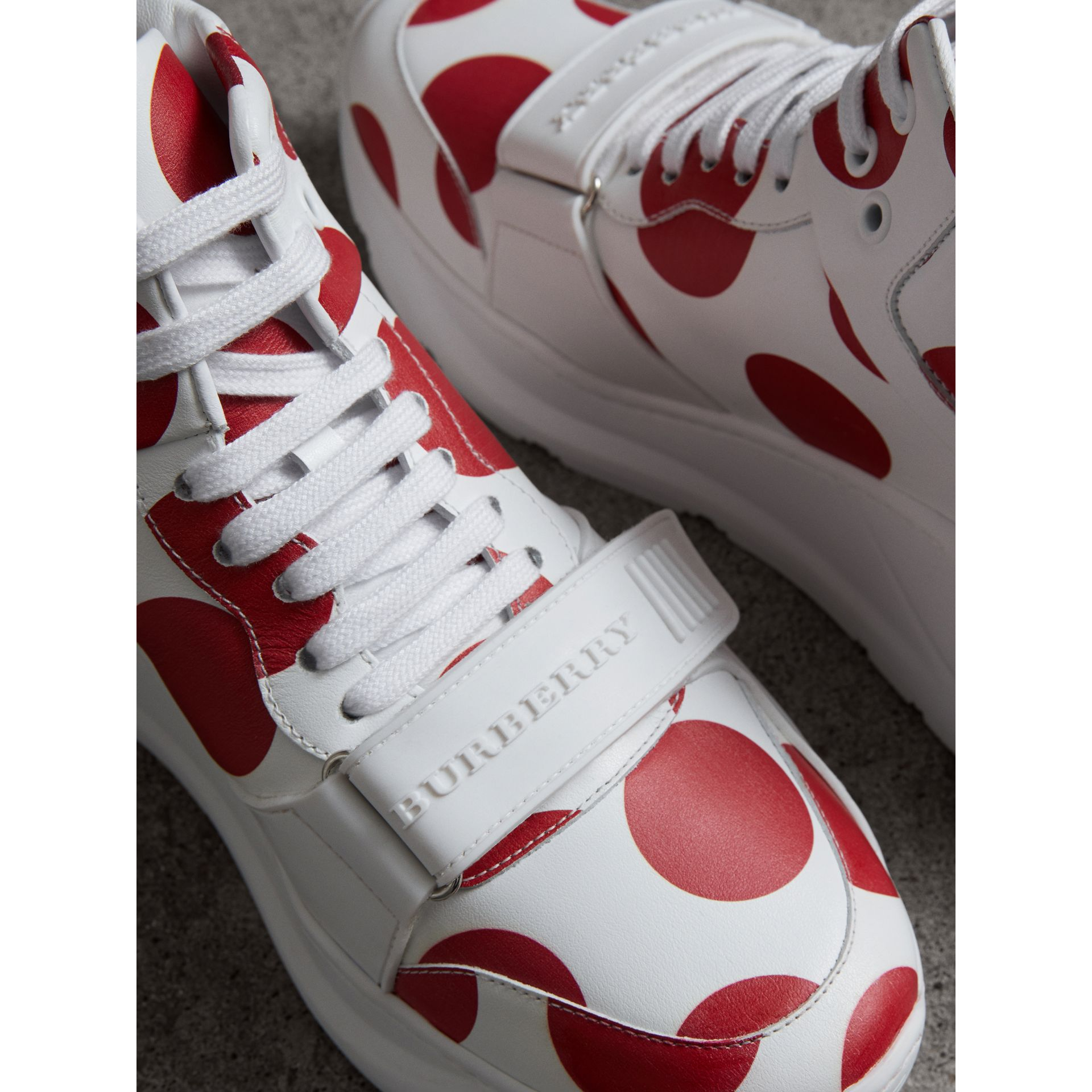 Spot Print Leather High-top Sneakers in Windsor Red/optic White - Women | Burberry - gallery image 1