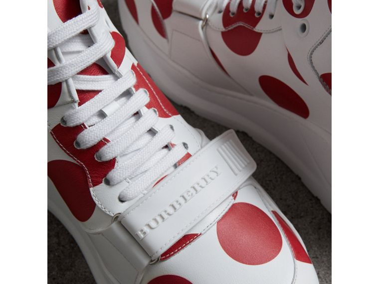 Spot Print Leather High-top Sneakers in Windsor Red/optic White - Women | Burberry - cell image 1
