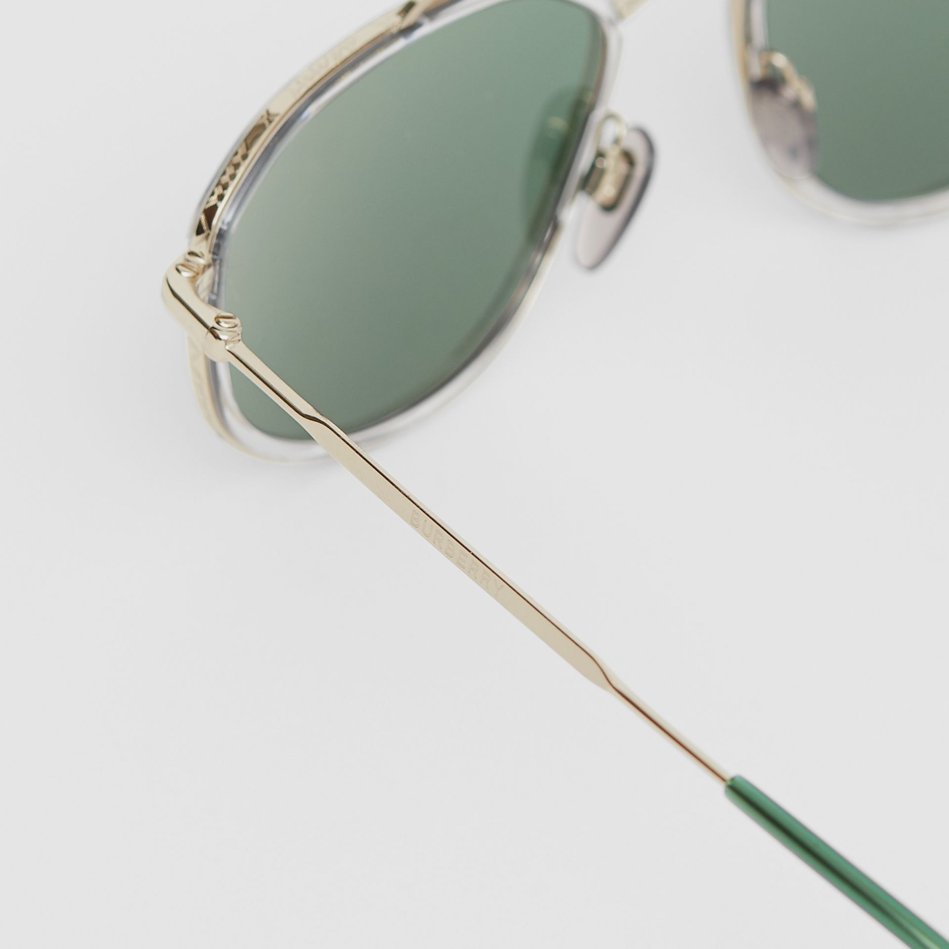 Gold-plated Geometric Navigator Sunglasses in Crystal - Men | Burberry - gallery image 1