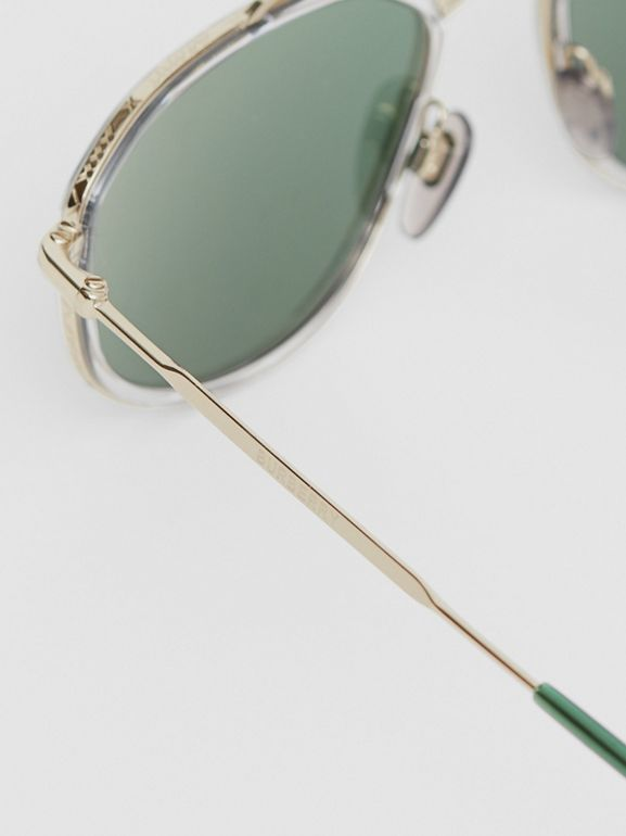 Gold-plated Geometric Navigator Sunglasses in Crystal | Burberry - cell image 1