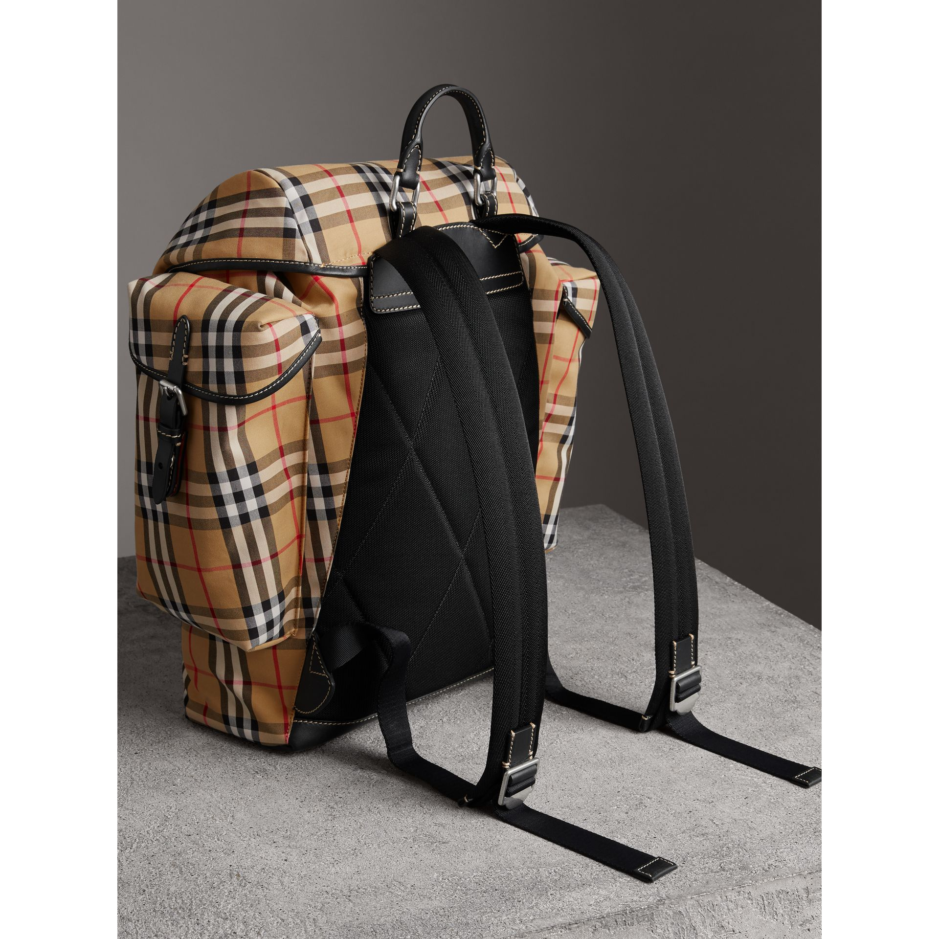 Vintage Check and Leather Backpack in Clementine - Men | Burberry United States - gallery image 4