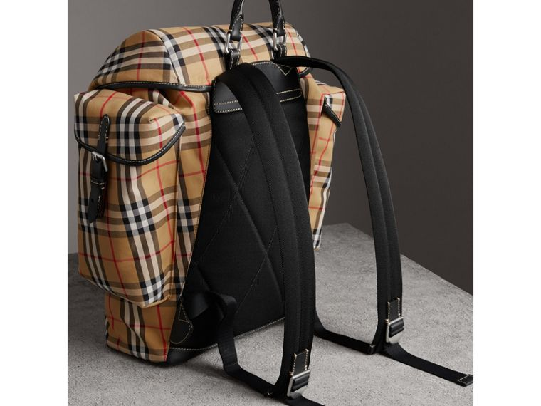 Vintage Check and Leather Ranger Backpack in Antique Yellow/clementine - Men | Burberry - cell image 4