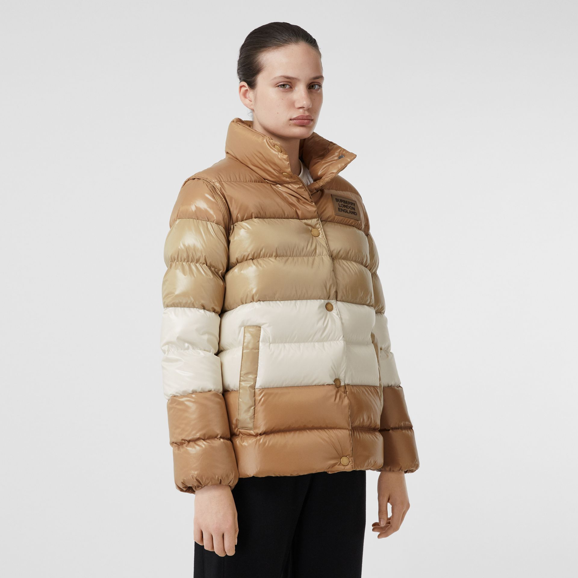 Panelled Nylon Puffer Jacket with Detachable Sleeves in Soft Camel - Women | Burberry - gallery image 5