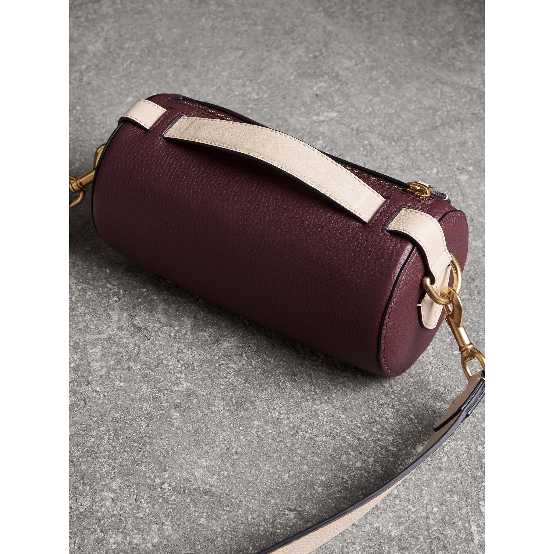 The Leather Barrel Bag in Deep Claret/limestone - Women | Burberry - gallery image 2
