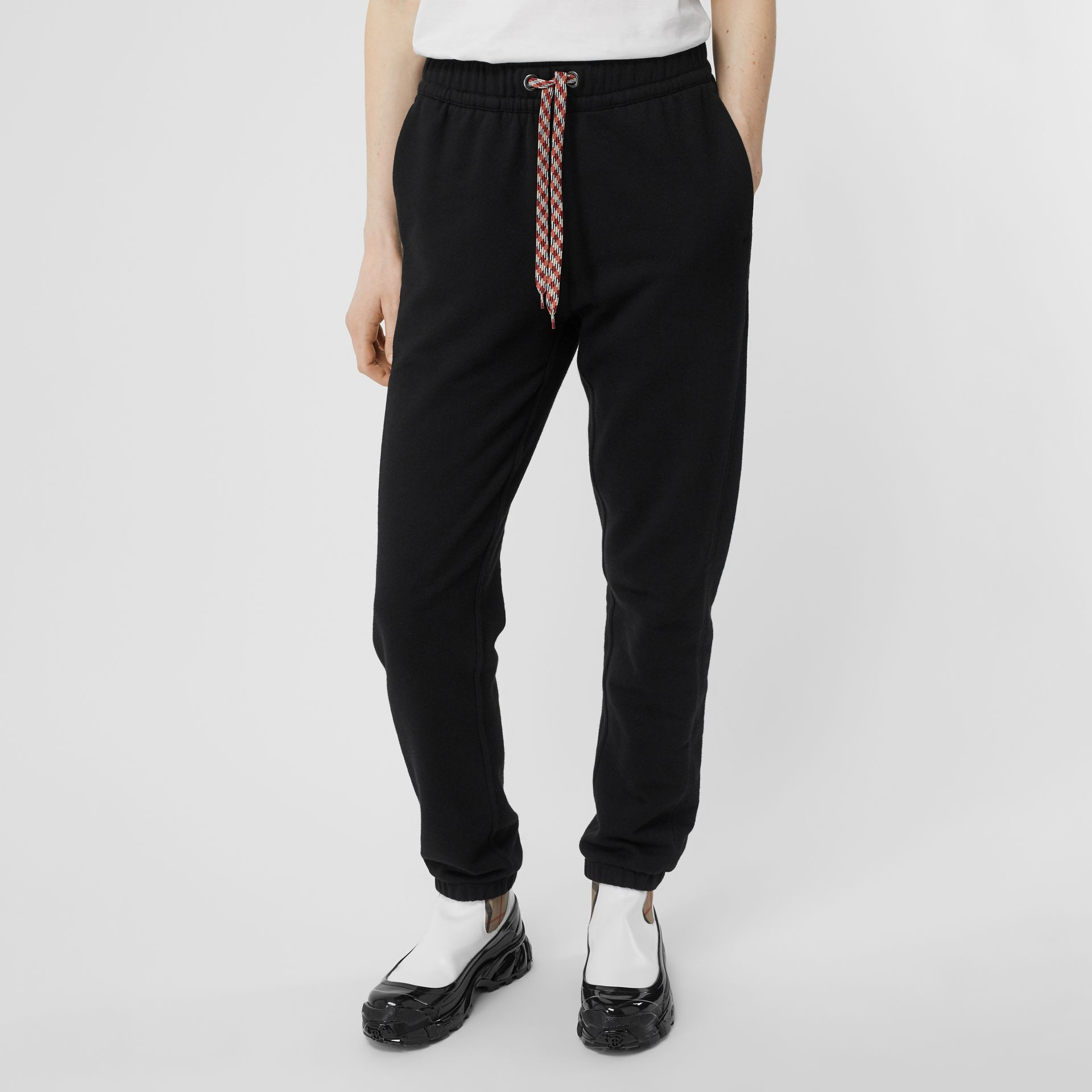 Embroidered Logo Cotton Trackpants in Black - Women | Burberry - gallery image 5
