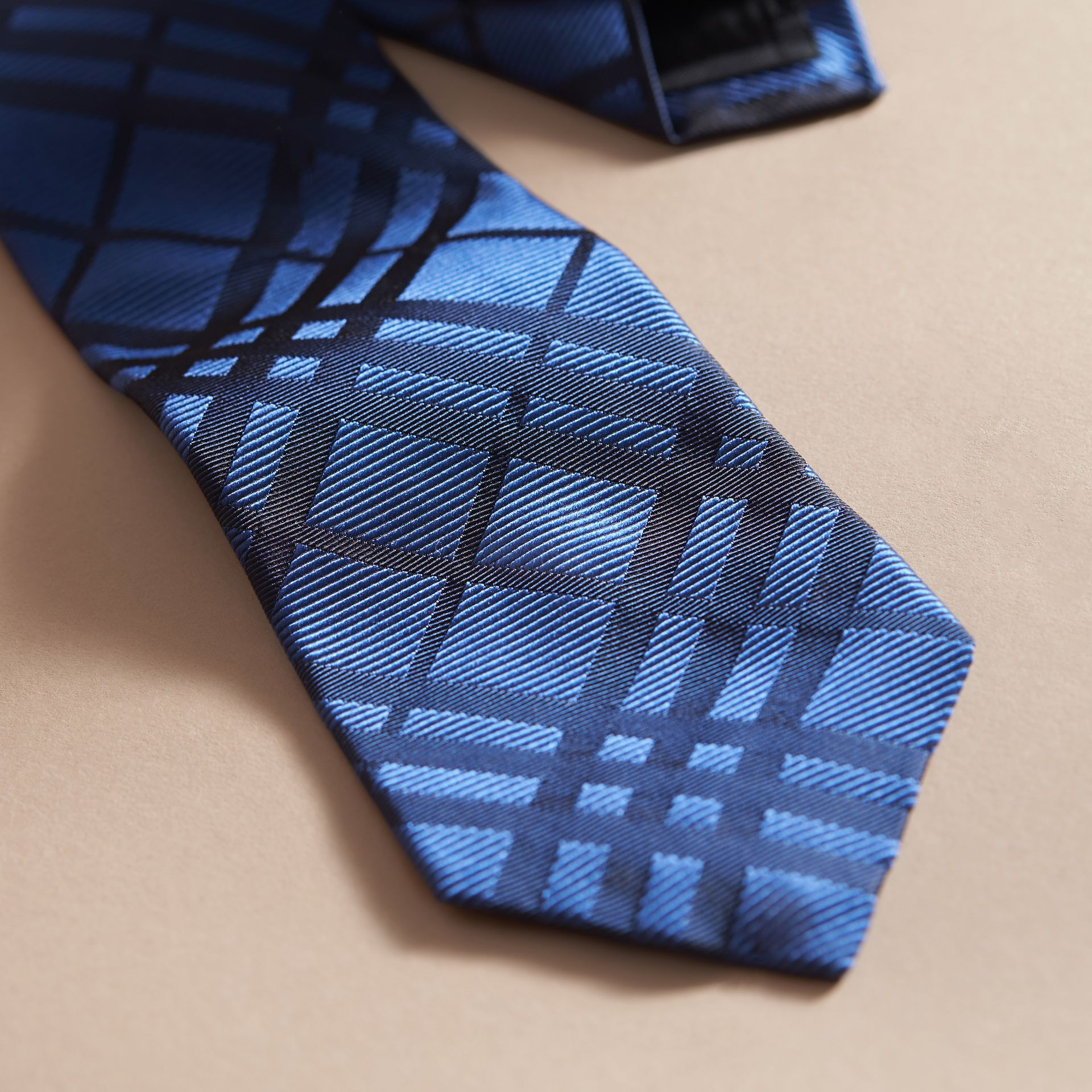 Modern Cut Check Jacquard Silk TIe Brilliant Blue - gallery image 2