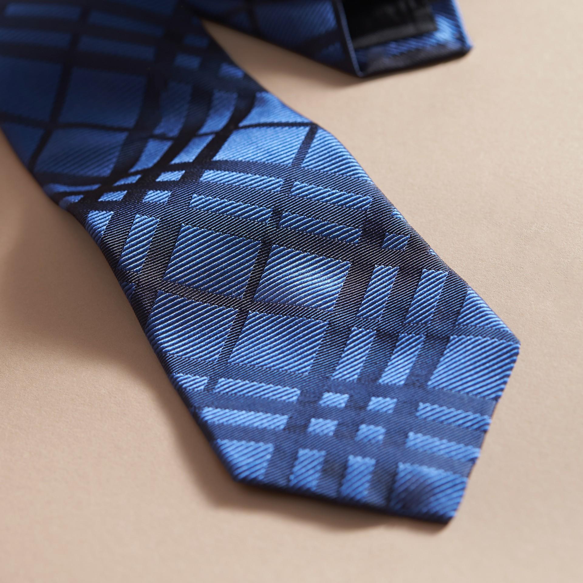 Modern Cut Check Silk Jacquard Tie in Brilliant Blue - gallery image 2