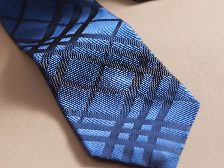 Modern Cut Check Jacquard Silk TIe Brilliant Blue - cell image 1