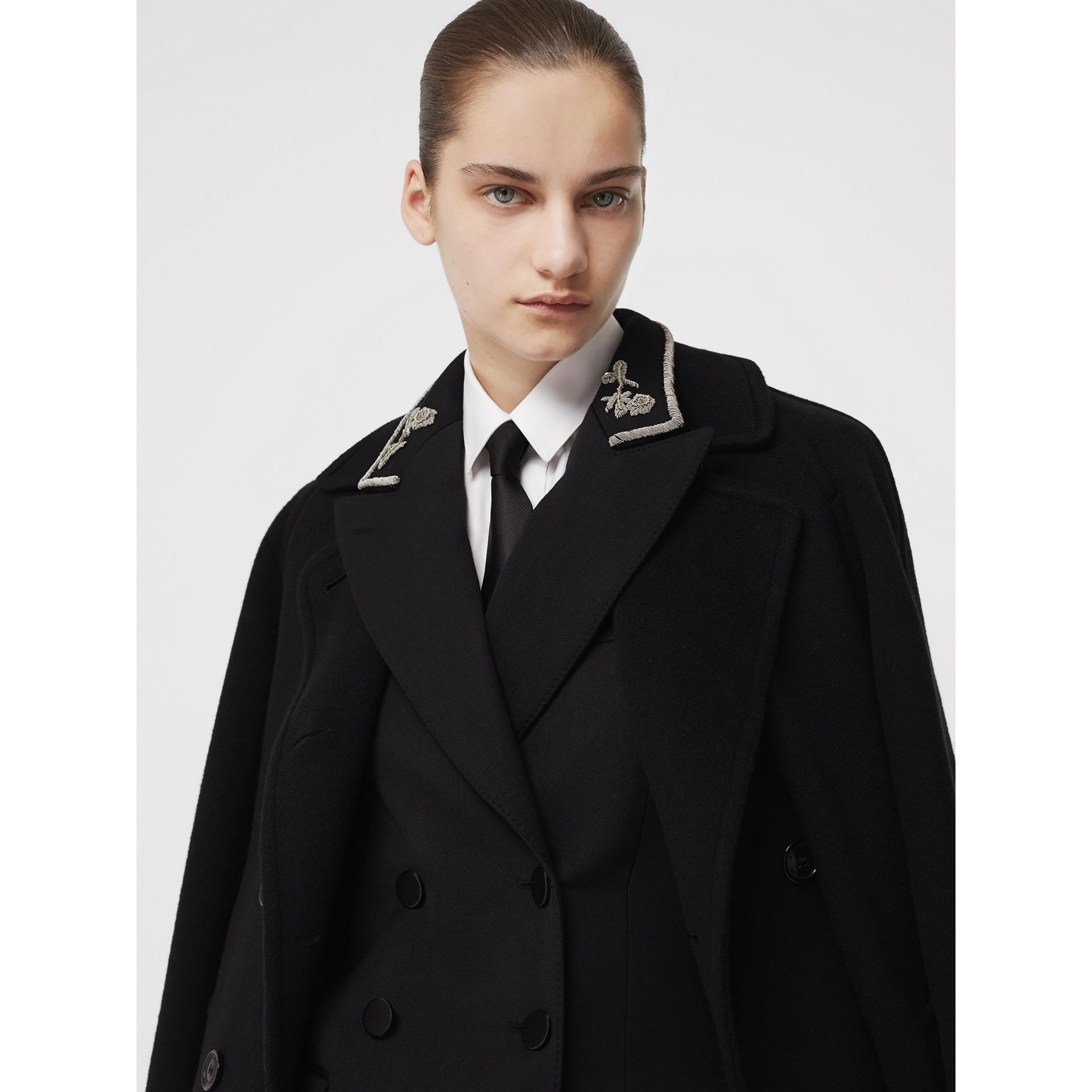 Bullion Stretch Wool Double-breasted Jacket in Black - Women | Burberry United Kingdom - gallery image 1
