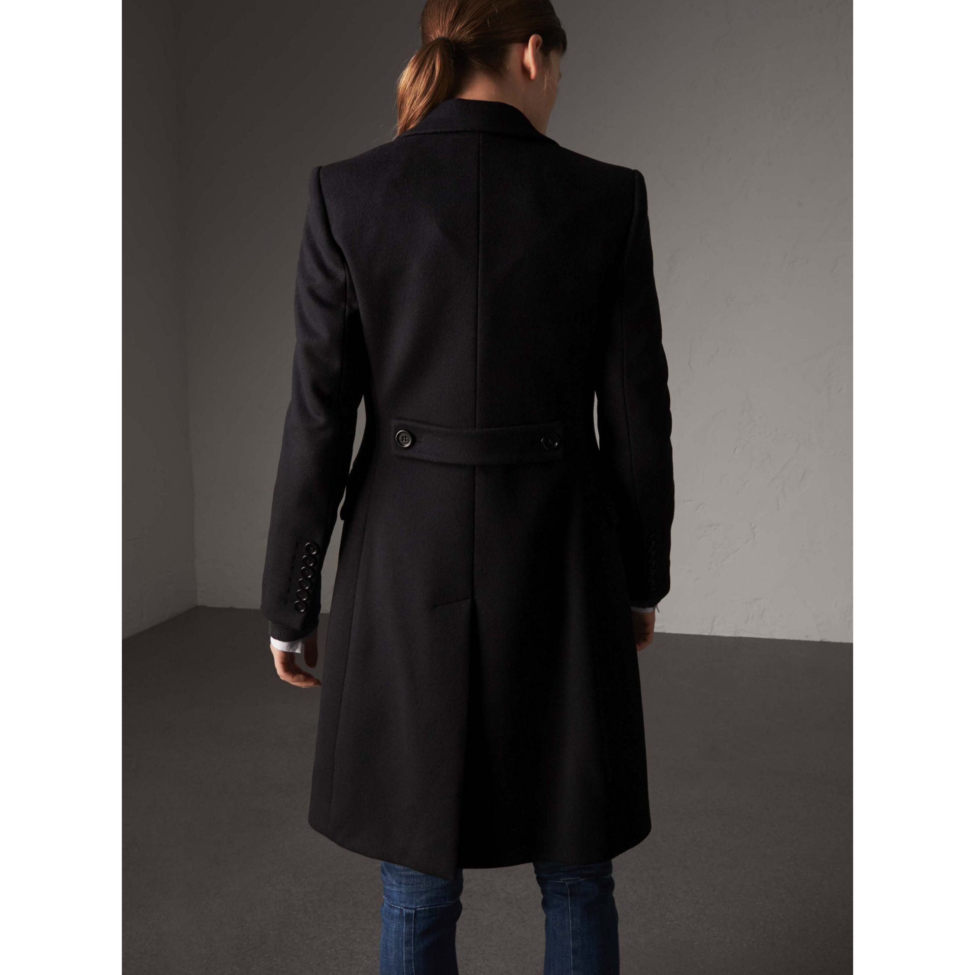 Wool Cashmere Tailored Coat in Black - Women | Burberry - gallery image 2