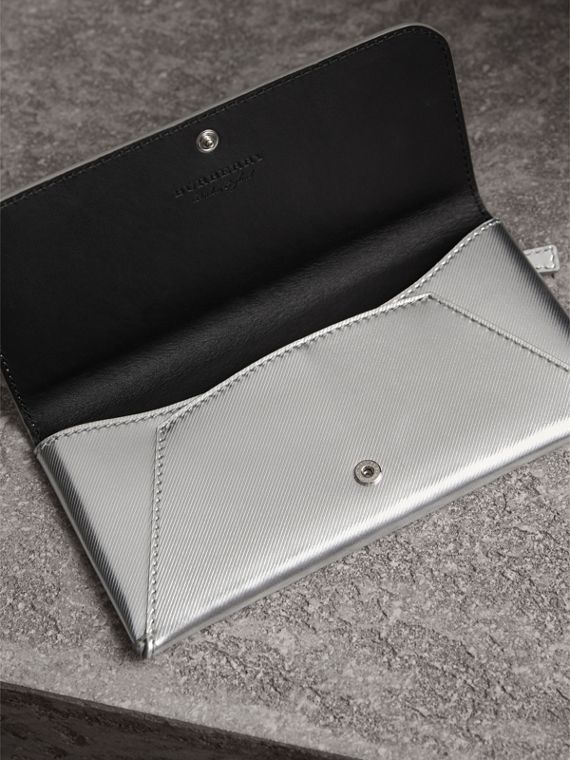 Metallic Trench Leather Envelope Wallet in Silver - Women | Burberry - cell image 3