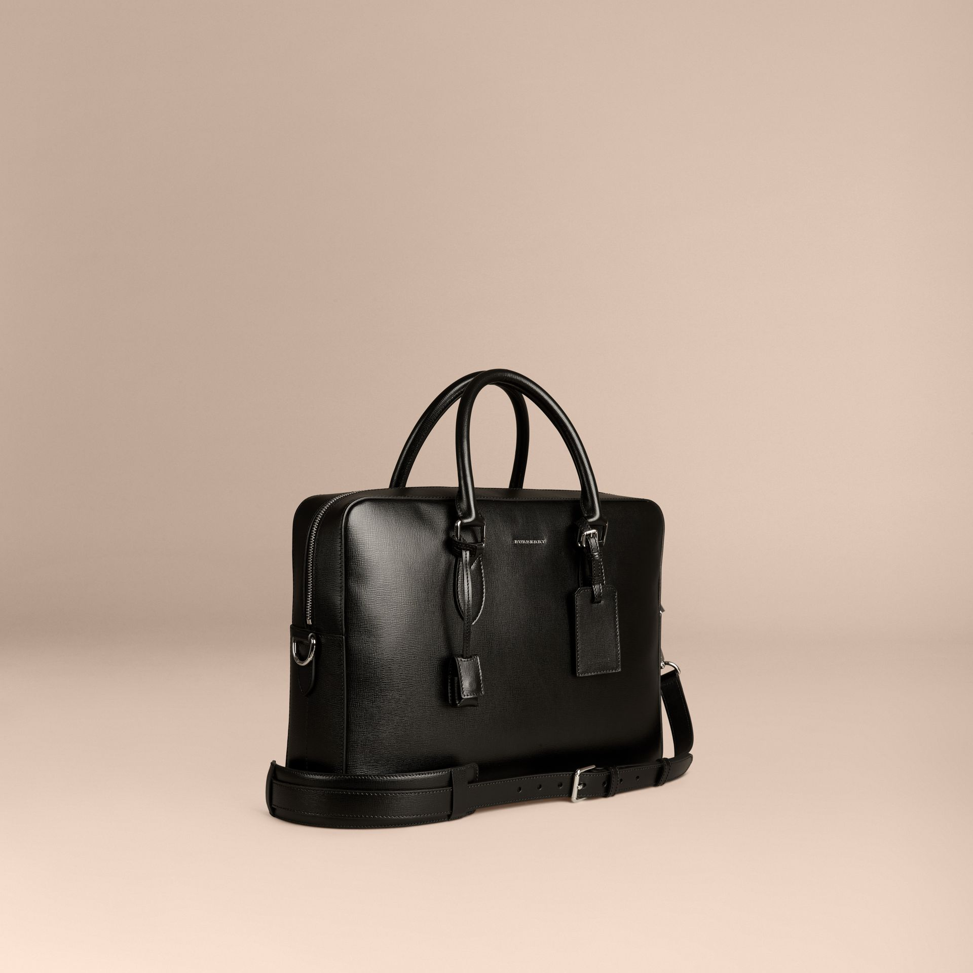 Large London Leather Briefcase in Black - gallery image 1