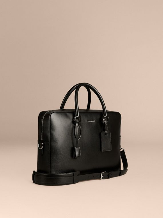Large London Leather Briefcase Black