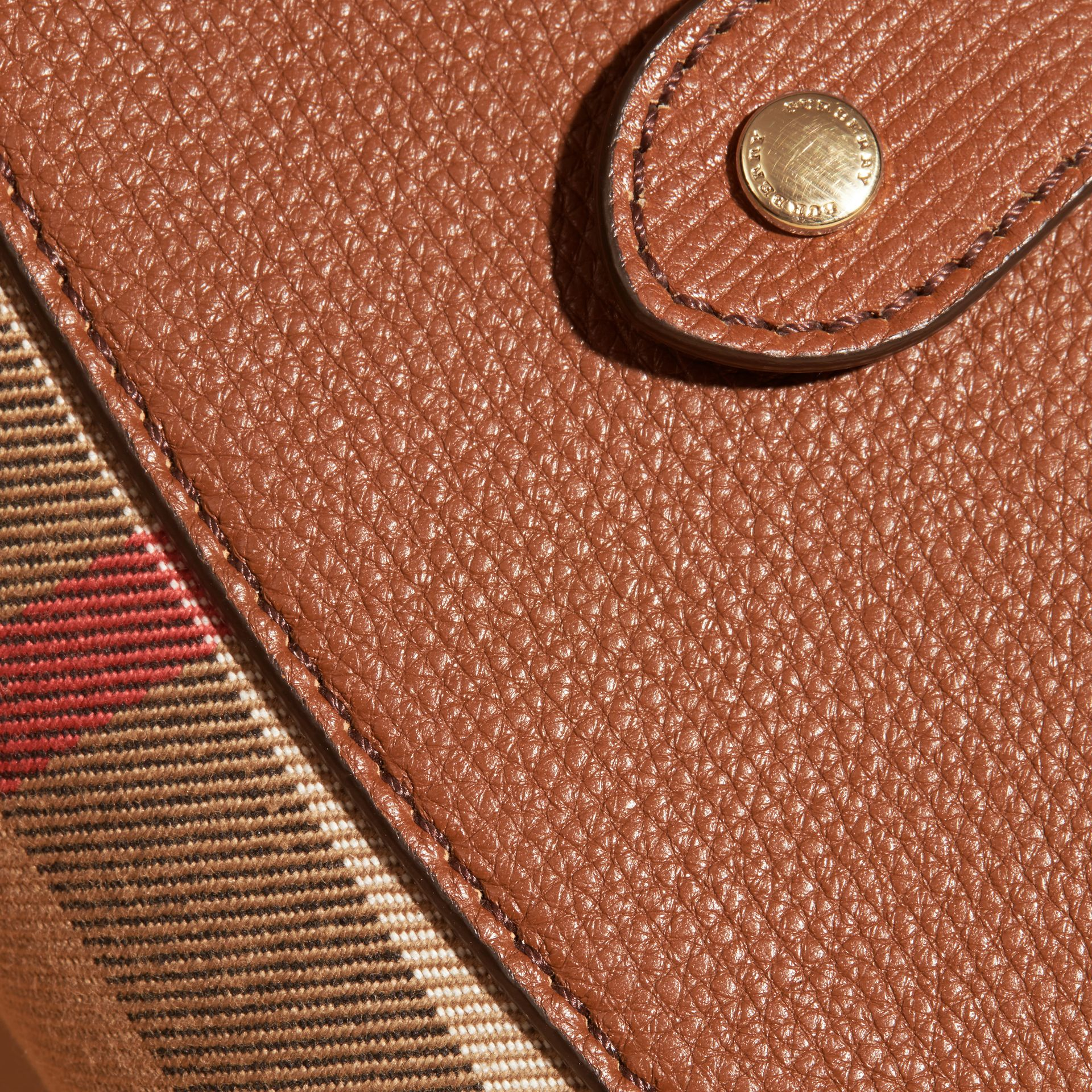 House Check and Leather Wallet Tan - gallery image 4