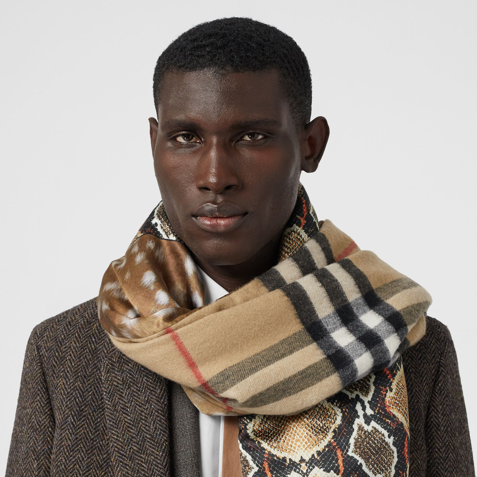 Check and Animal Print Cashmere Silk Puffer Scarf in Honey | Burberry Australia - gallery image 3
