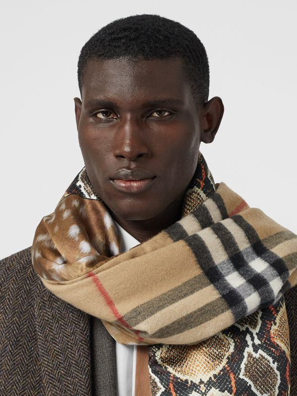 Check and Animal Print Cashmere Silk Puffer Scarf in Honey | Burberry - cell image 3