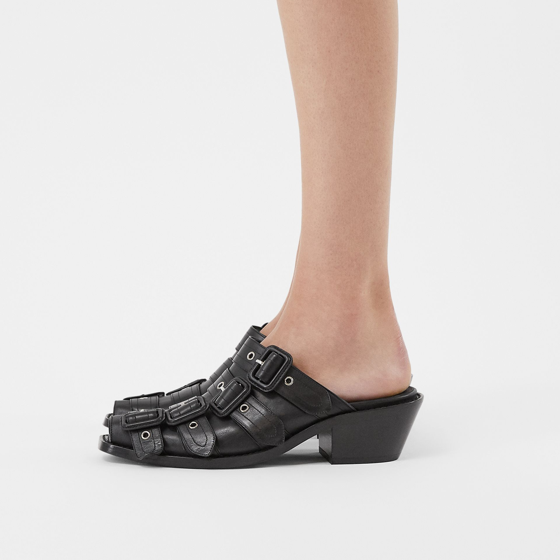 Buckled Leather Peep-toe Mules in Black - Women | Burberry United Kingdom - gallery image 2