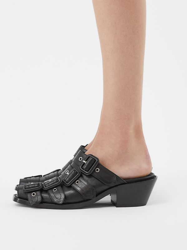 Buckled Leather Peep-toe Mules in Black - Women | Burberry United Kingdom - cell image 2
