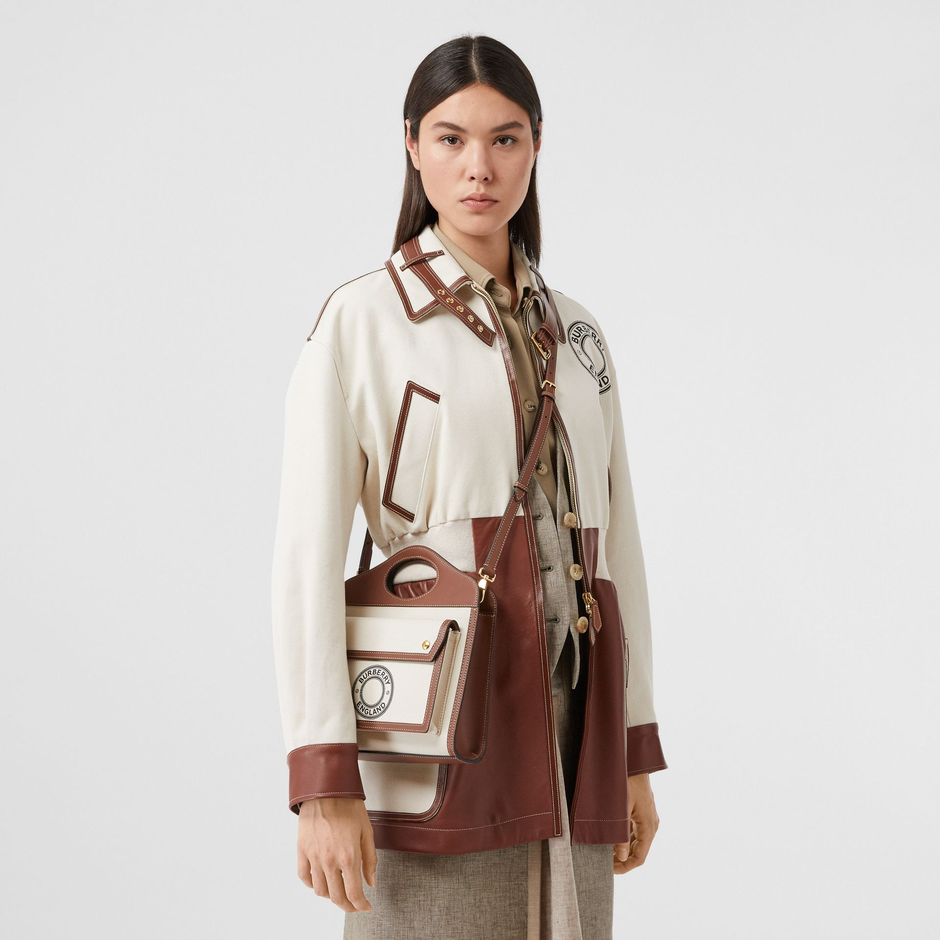 Mini Logo Graphic Canvas and Leather Pocket Bag in Tan - Women | Burberry Australia - gallery image 2