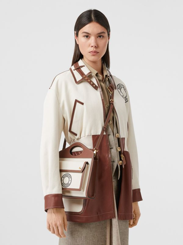 Mini Logo Graphic Canvas and Leather Pocket Bag in Tan - Women | Burberry Canada - cell image 2