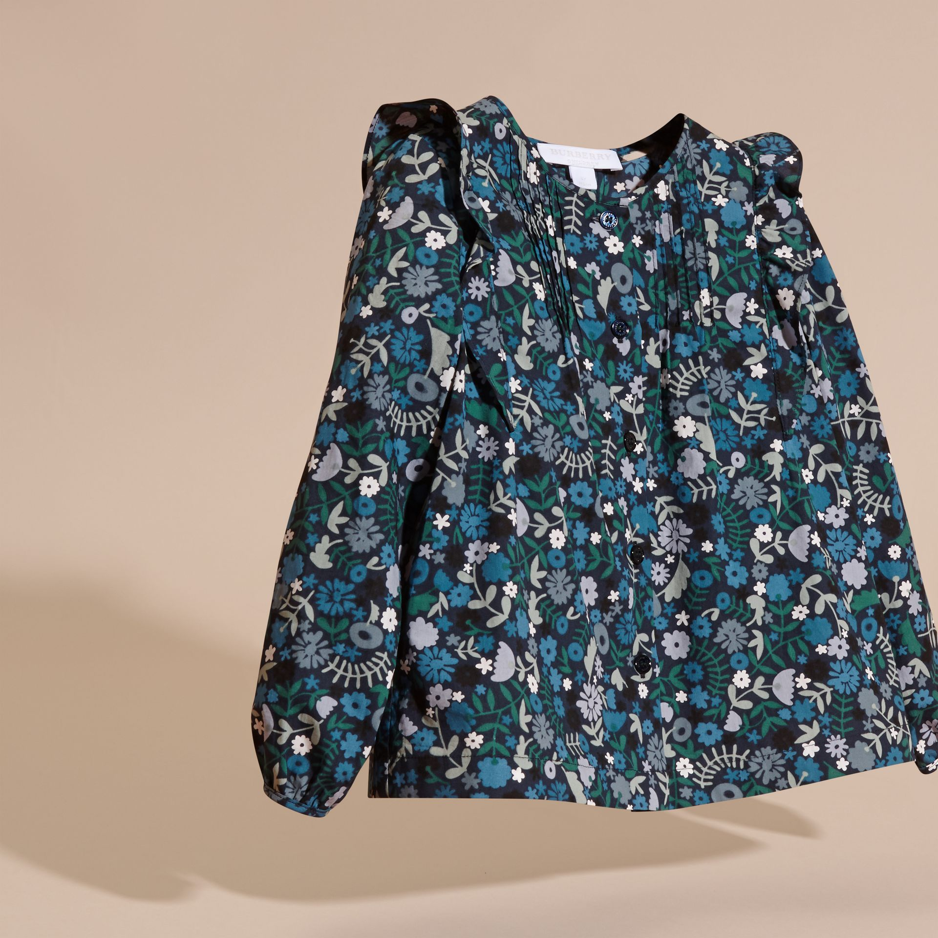 Hydrangea blue Floral Print Cotton Shirt with Ruffle Detail Hydrangea Blue - gallery image 3