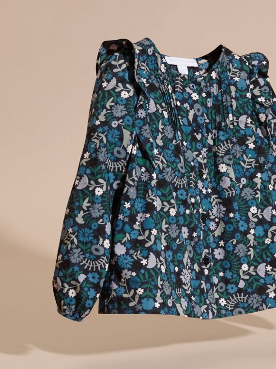 Hydrangea blue Floral Print Cotton Shirt with Ruffle Detail Hydrangea Blue - cell image 2
