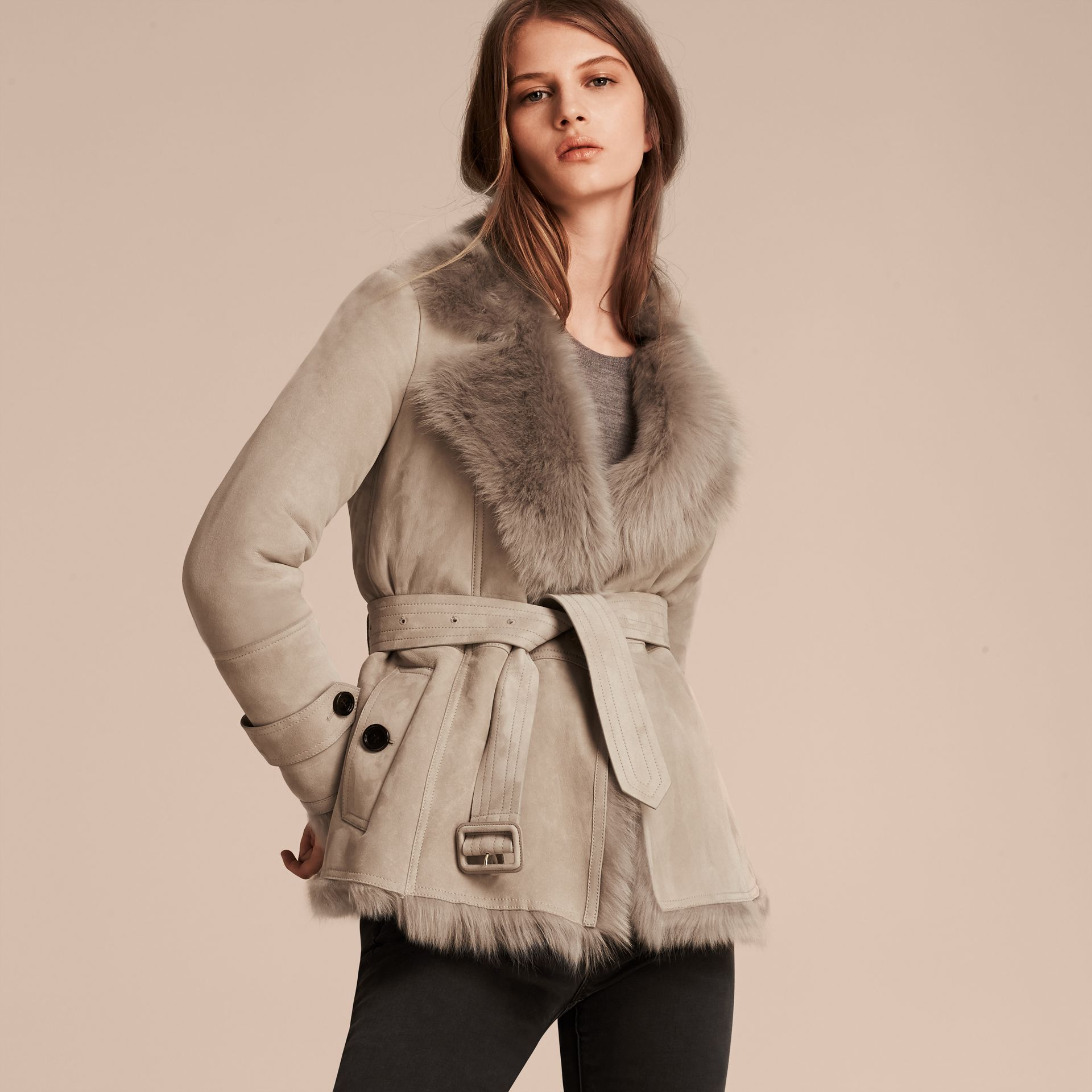 Pale grey Shearling Wrap Jacket - gallery image 7