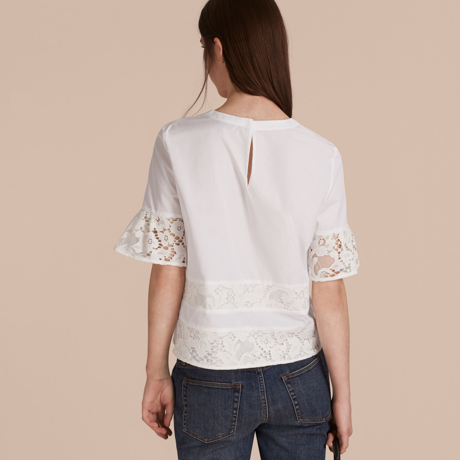 White Lace Detail Cotton T-shirt - gallery image 3