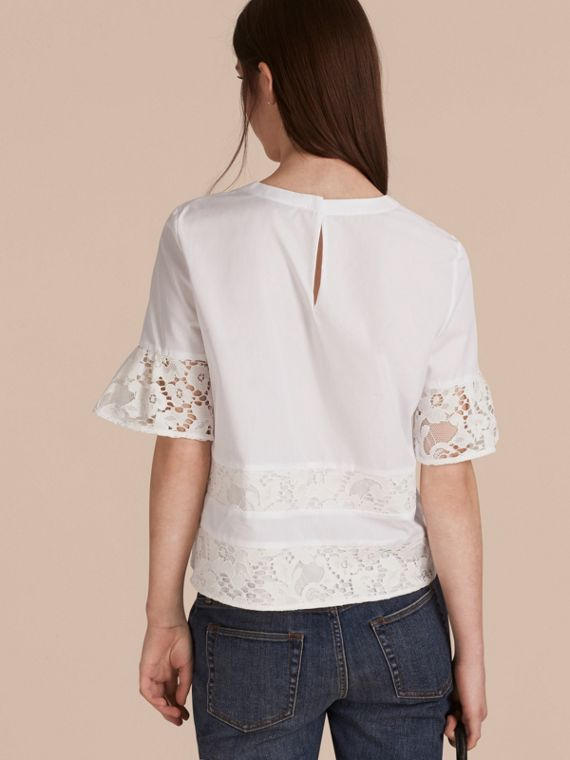 White Lace Detail Cotton T-shirt - cell image 2