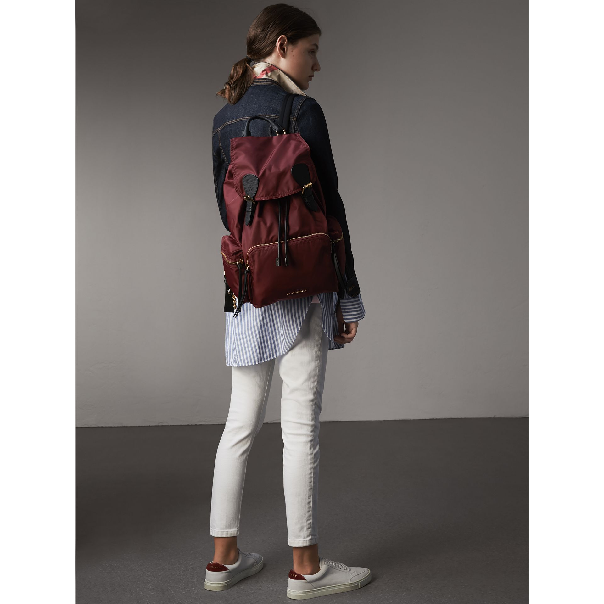 The Large Rucksack in Technical Nylon and Leather in Burgundy Red - Women | Burberry United States - gallery image 2